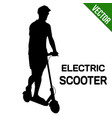 man silhouette riding electric scooter vector image vector image