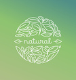 natural label in trendy linear style vector image vector image