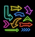 neon glowing arrow pointer set on dark background vector image vector image