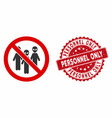 no aliens icon with scratched personnel only stamp vector image vector image