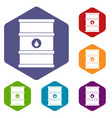 oil barrel icons set hexagon vector image vector image