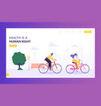 physical male and female riding bicycle web page vector image