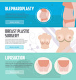 plastic surgery horizontal banners set vector image