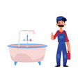 plumber man thumbs up vector image vector image