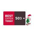 santa claus elf walking with promotion sign and di vector image vector image