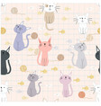 seamless pattern of cute funny cat vector image