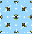seamless pattern with bees and circles vector image vector image