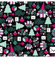 Seamless pattern with winter owl vector image vector image