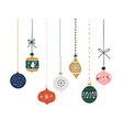 set hand drawn christmas baubles decoration vector image