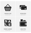 set of 4 editable business icons includes symbols vector image
