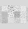 set of memphis seamless patterns black and white vector image vector image