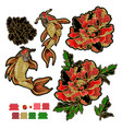 set of patches with embroidery of koi carp vector image vector image