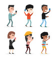 set people with technology smartphone in the hand vector image