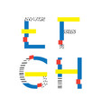 set with geometric style letters sequence e vector image vector image