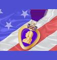 silk flag and purple heart vector image