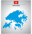 simple outline map hong kong with flag vector image