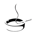 smoke cigarette and ashtray vector image vector image