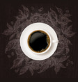 top view cup coffee with sketch coffee tree vector image