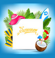 tropical exotic design card with beach accessories vector image vector image