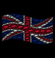 waving british flag collage of barbed wire icons vector image