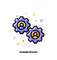 working process icon human resources management vector image vector image