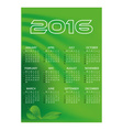 2016 simple business green waves wall calendar vector image vector image