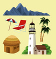 beautiful island cartoon vector image vector image