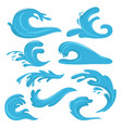 blue ocean waves water drops and splashes vector image vector image