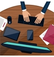 Business man working with laptop vector image vector image
