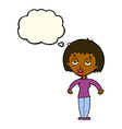 cartoon woman shrugging shoulders with thought vector image vector image