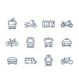 city transport icons linear style vector image vector image