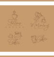 coffee pen line signs beige vector image vector image