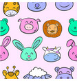 collection stock animal head various doodles vector image vector image