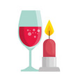 cup glass champagne with candle light isolated vector image vector image