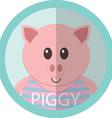 Cute piggy cartoon flat icon avatar round circle vector image