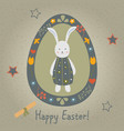 festive easter egg with cute character of bunny vector image