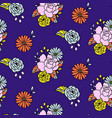floral pattern in hand drawn style with vector image vector image