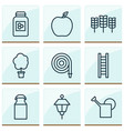 garden icons set with peach cereal milk can and vector image vector image