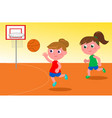 girls playing basketball vector image