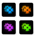 glowing neon smart home icon isolated on white vector image vector image