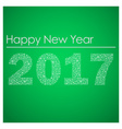 green happy new year 2017 from little snowflakes vector image vector image