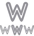 Grey line w logo design set vector image vector image