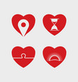 heart abstract icon set vector image vector image