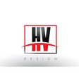 hv h v logo letters with red and black colors and vector image vector image