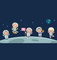 kids astronaut on moon space background vector image vector image