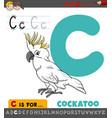 letter c worksheet with cartoon cockatoo bird