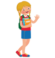 Little girl student of the school with textbooks vector image vector image