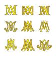 monogram of ave maria symbols set vector image vector image