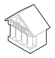 Museum building icon outline style vector image