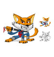 Ninja Cat Mascot Cartoon Character vector image vector image